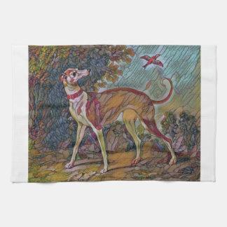 The Bird-Watching Greyhound Hand Towel
