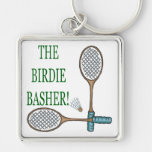 The Birdie Basher 2 Silver-Colored Square Key Ring