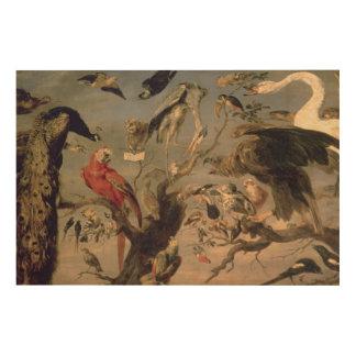 The Bird's Concert 2 Wood Canvas