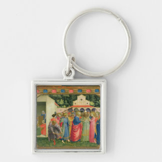 The Birth and Marriage of the Virgin Silver-Colored Square Key Ring