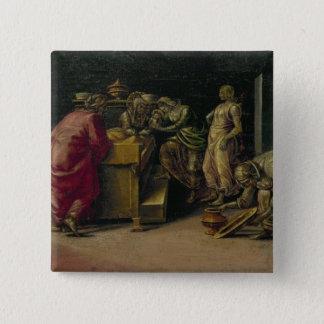The Birth of St. John the Baptist (oil on panel) 15 Cm Square Badge