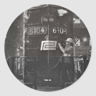 The Birth of The Penn Central Railroad Round Sticker