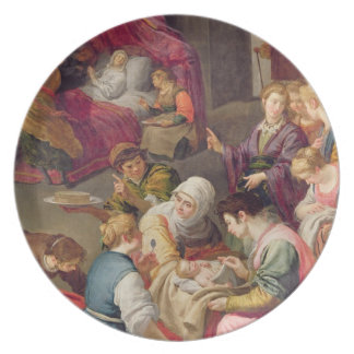 The Birth of the Virgin, 1640 (oil on canvas) Party Plates