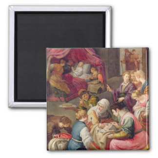 The Birth of the Virgin, 1640 (oil on canvas) Square Magnet