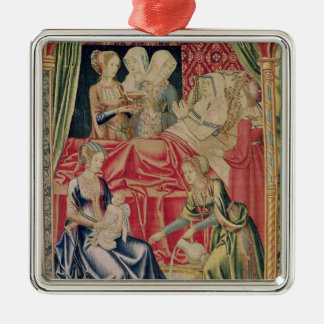 The Birth of the Virgin Silver-Colored Square Decoration