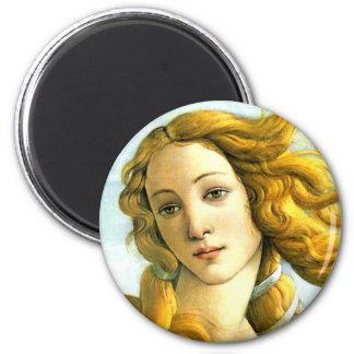 The Birth of Venus -detail Round Magnet