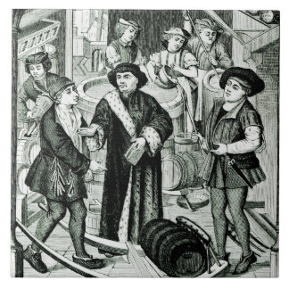 The Bishop of Tournai receiving the Tithe of Beer Large Square Tile