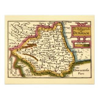 The Bishopprick of Durham County Map, England Custom Invite