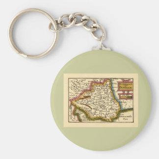 The Bishopprick of Durham County Map, England Basic Round Button Key Ring