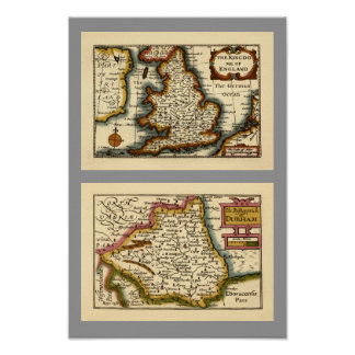 The Bishopprick of Durham County Map England Print