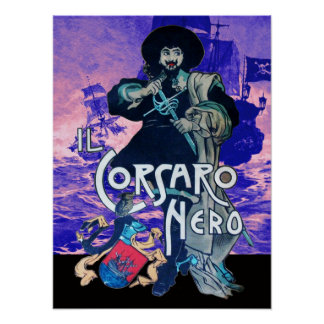 THE BLACK CORSAIR /Pirate Ship Battle In Blue Pink Poster