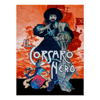 THE BLACK CORSAIR /Pirate Ship Battle In Red Poster
