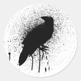 The black crow classic round sticker