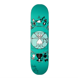 The Black Kitty Mandala by Kinky Kitty detail Skate Board Decks