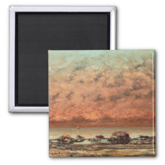 The Black Rocks at Trouville, 1865- 66 Square Magnet