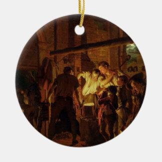 The Blacksmith's Shop (oil on canvas) Christmas Ornament