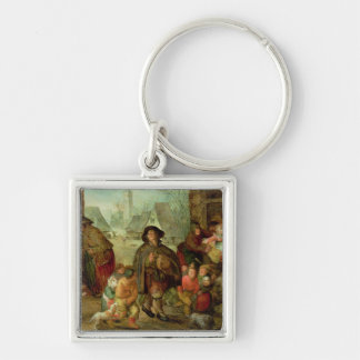 The Blind Hurdy Gurdy Player Silver-Colored Square Key Ring