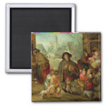 The Blind Hurdy Gurdy Player Square Magnet