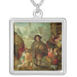 The Blind Hurdy Gurdy Player Square Pendant Necklace