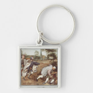 The Blind Leading the Blind - 1568 Silver-Colored Square Key Ring