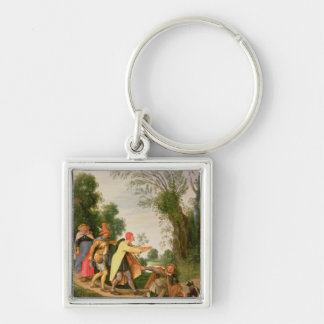 The Blind Leading the Blind Silver-Colored Square Key Ring