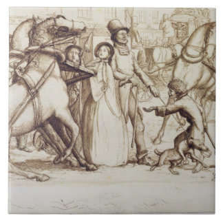 The Blind Man, 1853 (pen, ink, wash and graphite o Large Square Tile