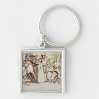 The Blind Man, 1853 (pen, ink, wash and graphite o Silver-Colored Square Key Ring