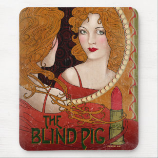 The Blind Pig Vintage Artwork Mouse Mat