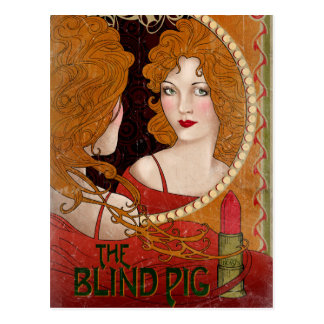 The Blind Pig Vintage Artwork Postcard