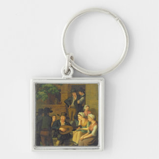 The Blind Singer, 1828 Silver-Colored Square Key Ring