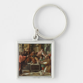 The Blinding of Elymas (cartoon for the Sistine Ch Silver-Colored Square Key Ring