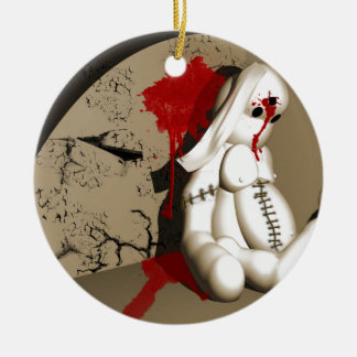 The Bloody bunny Round Ceramic Decoration