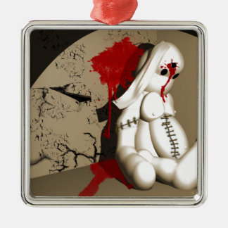 The Bloody bunny Silver-Colored Square Decoration