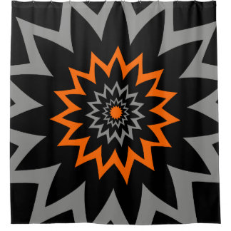 The Blooming Expanse:  Black and Orange Shower Curtain