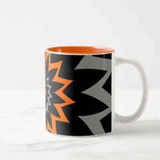 The Blooming Expanse:  Black and Orange Two-Tone Coffee Mug