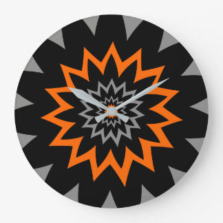 The Blooming Expanse:  Black and Orange Wallclock