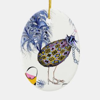 The Blue Diamond Fab Egg, tony fernandes Ceramic Oval Decoration