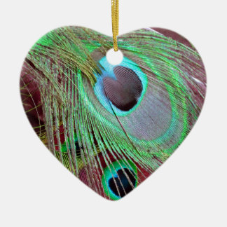 The Blue Eye peacock flowing feather. Christmas Ornament
