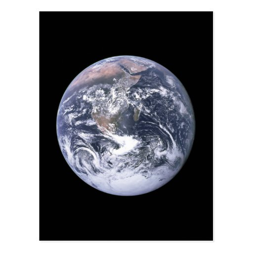 """""""The Blue Marble"""" Earth seem from Apollo 17 Postcard"""
