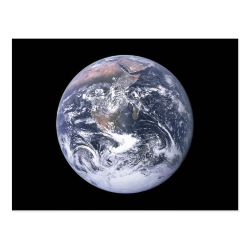"""The Blue Marble"" Earth seem from Apollo 17 Post Card"