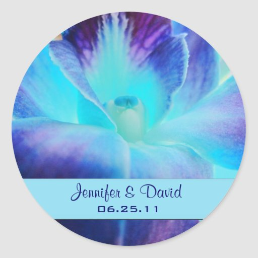 The Blue Orchid Wedding Favor Sticker