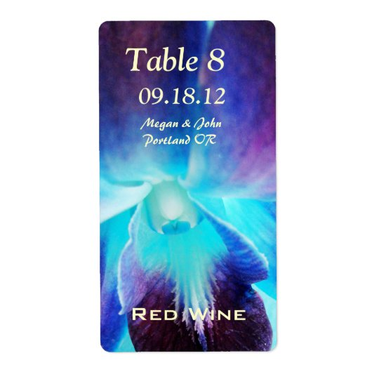 The Blue Orchid Wedding Wine Labels