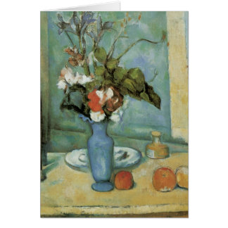 The Blue Vase (aka Flowers and Fruit) by Cezanne Greeting Card