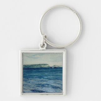 The Blue Waters of Plymouth, 19th Silver-Colored Square Key Ring