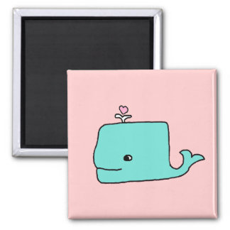 The Blue Whale Square Magnet