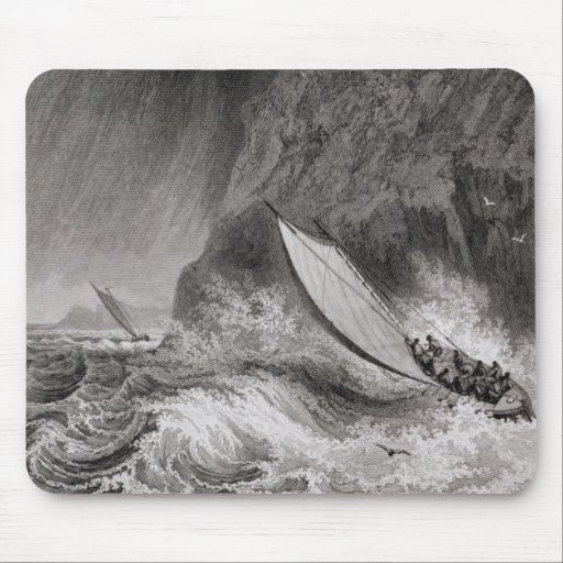The boats off Walden Island in a snow storm, Augus Mousepads