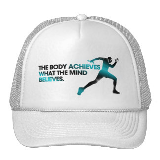 The BODY Achieves what the MIND Believes Cyan Trucker Hat
