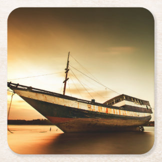 The Body Of Old Ship | Bali, Indonesia Square Paper Coaster