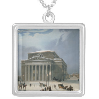 The Bolshoi Theatre in Moscow Square Pendant Necklace