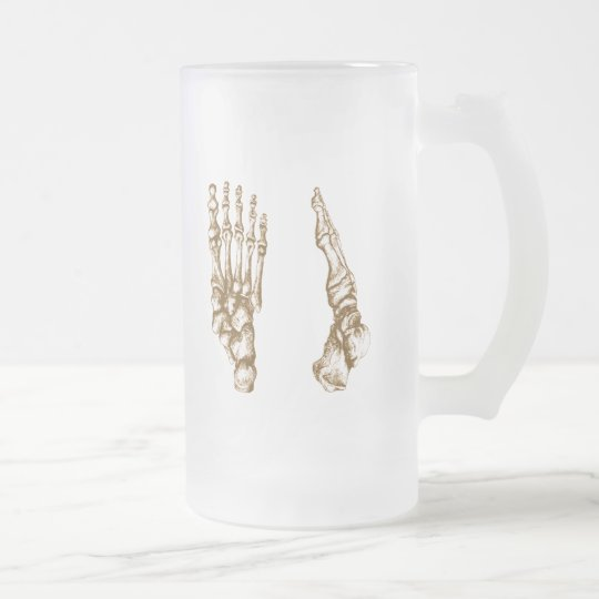 The bones of the human foot frosted glass beer mug